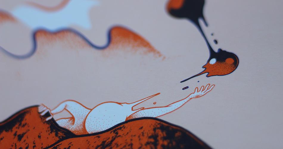 Illustration créée par Renaud Vigourd pour l'EP Touché-Coulé de Zerolex représentanr une forme d'homme géant entre deux collines